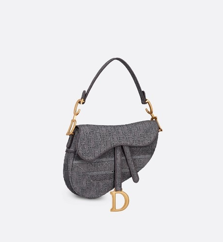 Gray Saddle Denim Bag with Dior Oblique Embroidery three quarter closed view