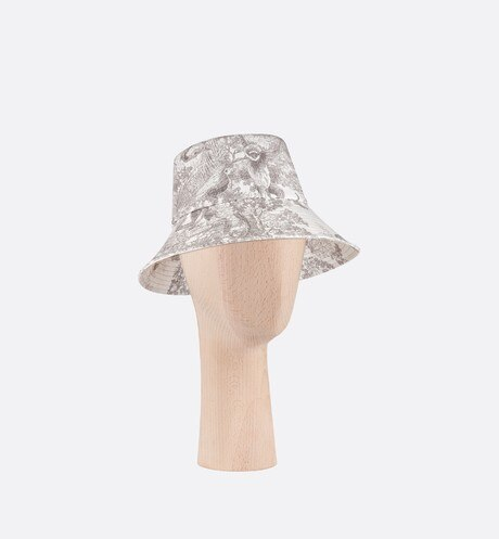 Click here to enlarge the product picture Gray Dioriviera Toile de Jouy Large Brim Cotton Denim Bucket Hat