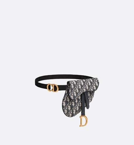 Dior Oblique Saddle belt bag three quarter closed view