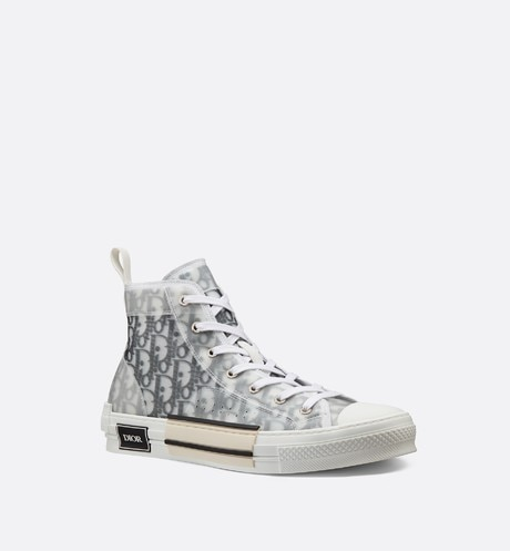B23 High-Top Sneakers in Dior Oblique three quarter closed view