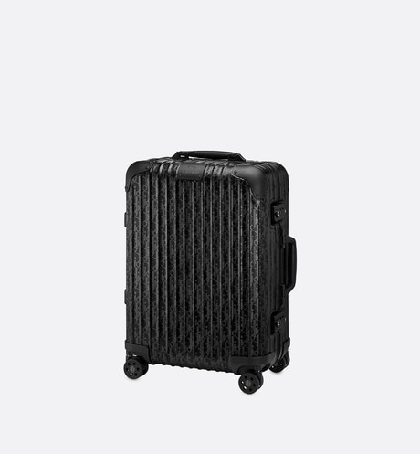 Black DIOR and RIMOWA Cabin Suitcase in Dior Oblique Aluminum aria_threeQuarterClosedView