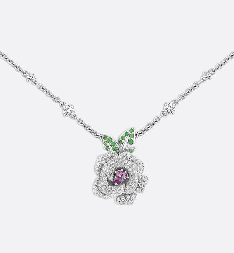 Rose Dior Bagatelle necklace, medium model, in 18k white gold and pink sapphires aria_threeQuarterOpenedView