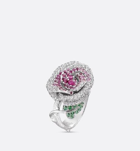 Rose Dior Bagatelle ring, medium model, in 18k white gold and pink sapphires aria_threeQuarterOpenedView