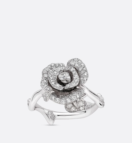 Rose Dior Bagatelle ring, small model, in 18k white gold and diamonds aria_threeQuarterOpenedView