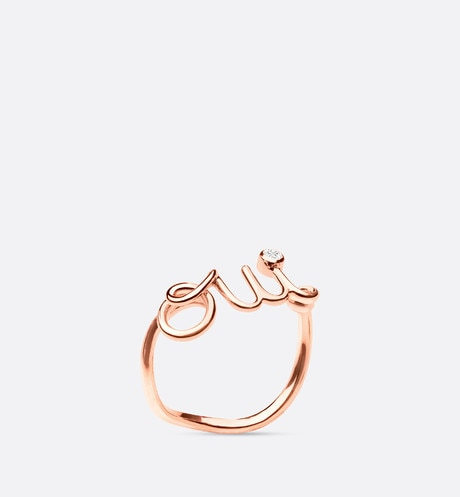 OUI ring, 18K pink gold and diamond Pink aria_threeQuarterOpenedView