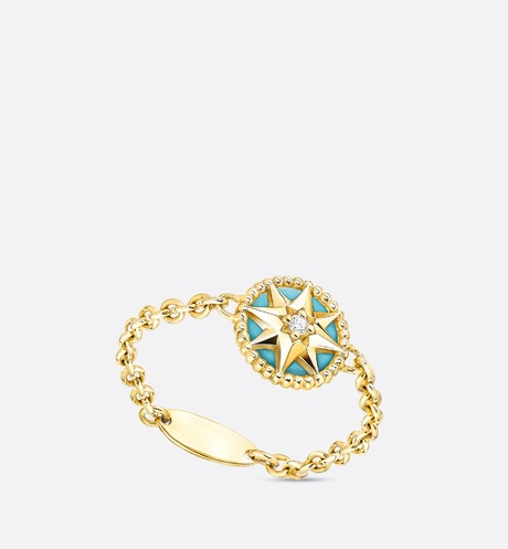 Rose des vents XS ring, 18K yellow gold, diamond and turquoise three quarter opened view