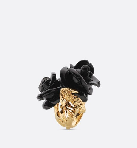 Click here to enlarge the product picture Rose Dior Pré Catelan ring, large model, in 18k yellow gold and onyx