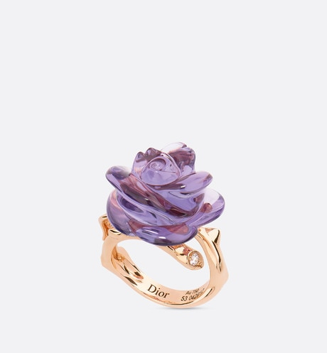 Rose Dior Pré Catelan ring, small model, in 18k pink gold and amethyst three quarter opened view