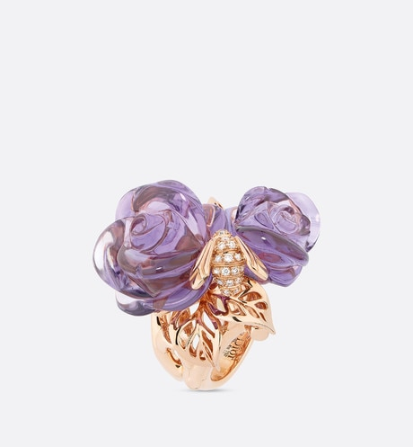 Rose Dior Pré Catelan-ring, groot model, in 18k roségoud met amethisten aria_threeQuarterOpenedView