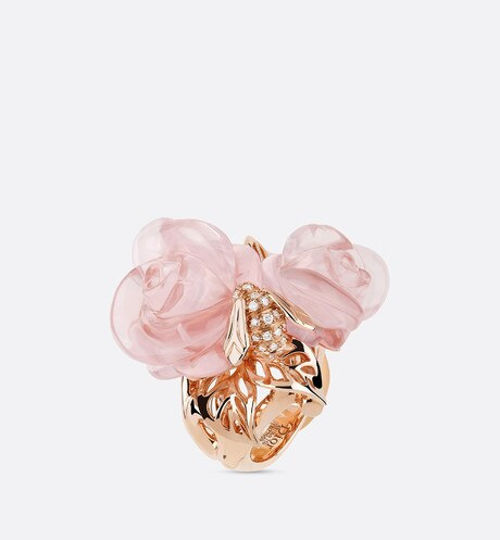 Click here to enlarge the product picture Rose Dior Pré Catelan ring, large model, in 18k pink gold and pink quartz