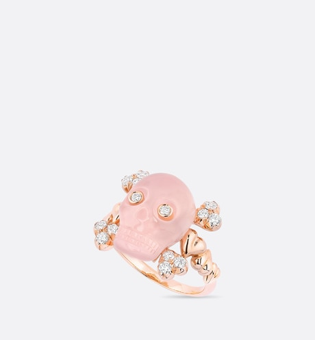 Bague Tête de Mort, or rose 750/1000 ͤ, diamants et quartz rose aria_threeQuarterOpenedView