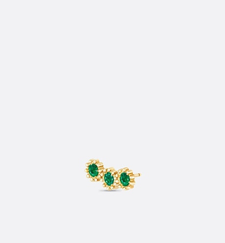 Mimirose earring, 18K yellow gold and emeralds three quarter opened view
