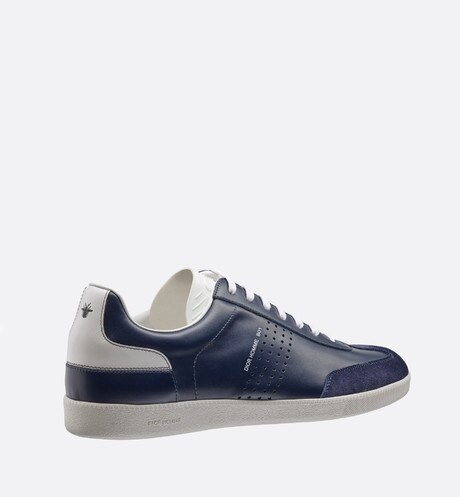Blue and white smooth calfskin and blue suede calfskin Sneaker, b01 signature three quarter back view