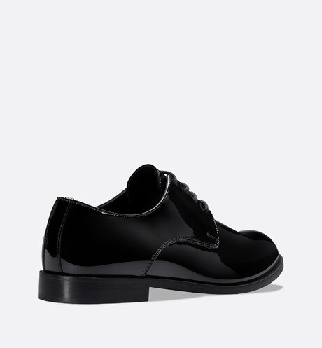 Derby shoes in black patent calfskin leather aria_threeQuarterBackView