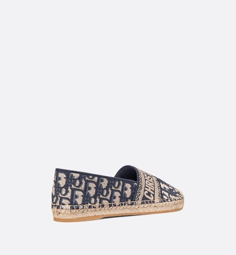 Deep Blue Dior Granville Dior Oblique Embroidered Cotton Espadrille aria_threeQuarterBackView