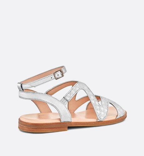 Metallic lambskin sandals aria_threeQuarterBackView