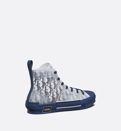 B23 High-Top Sneaker in Blue Dior Oblique three quarter back view