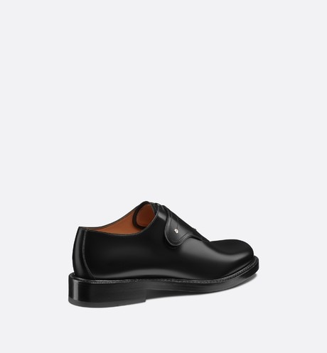 Saddle Monk Derby Shoe in Black Calfskin three quarter back view