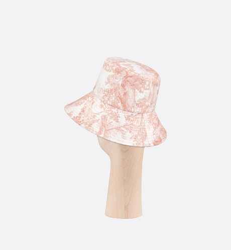 Pink Dioriviera Toile de Jouy Large Brim Cotton Denim Bucket Hat three quarter back view