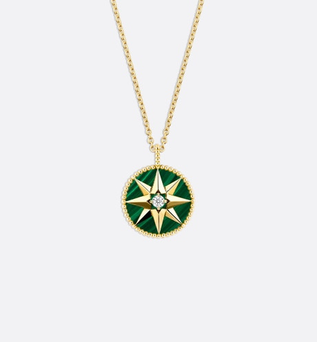 Rose des vents medallion necklace, 18k yellow gold, diamond and malachite three quarter back view