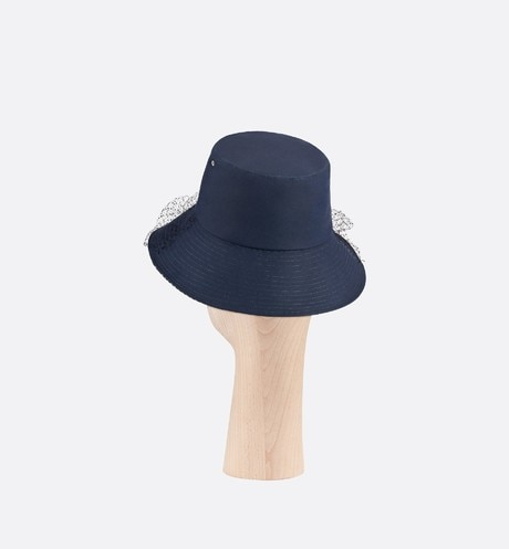 Teddy-D Large Brim Bucket Hat with Veil three quarter back view Open gallery