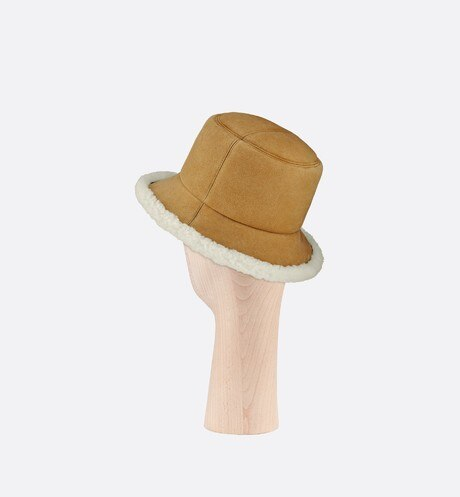Dior Shearling Small Brim Bucket Hat Three quarter back view Open gallery