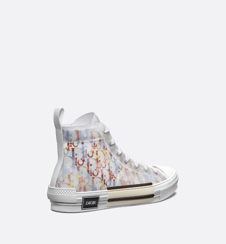 B23 High-Top Sneaker in Multicolor Dior Oblique three quarter back view