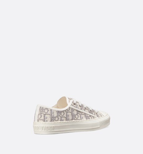 Gray Walk'n'Dior Dior Oblique Embroidered Cotton Sneaker three quarter back view