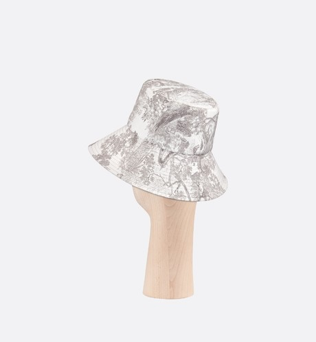 Dioriviera Toile de Jouy Large-Brim Bucket Hat three quarter back view Open gallery