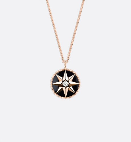 Rose des vents medallion necklace, 18k pink gold, diamond and onyx aria_threeQuarterBackView