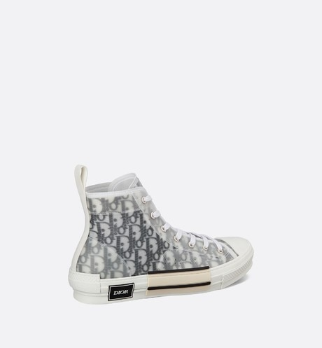 B23 High-Top Sneakers in Dior Oblique three quarter back view