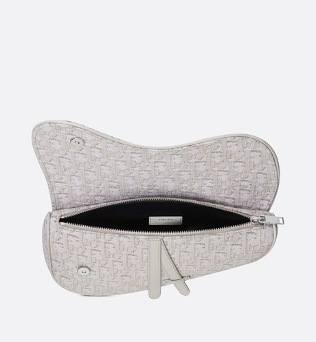 Beige Dior Oblique Jacquard Saddle Bag aria_topShotView