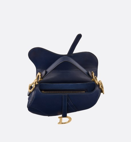 Saddle bag in blue calfskin top shot view