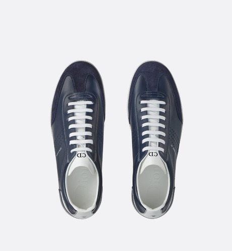 Blue and white smooth calfskin and blue suede calfskin Sneaker, b01 signature top shot view