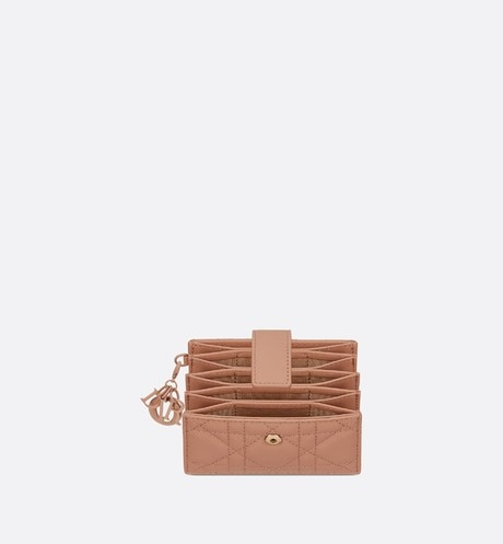 Blush Lady Dior Matte Cannage Calfskin 5-Pocket Card Holder aria_topShotView