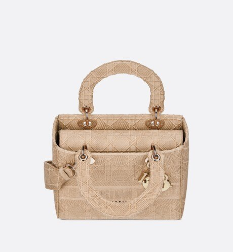 Medium Beige Lady D-Lite Embroidered Cannage Bag aria_topShotView
