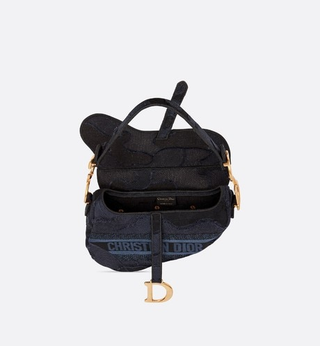 Blue Saddle Camouflage Embroidered Canvas Bag aria_topShotView