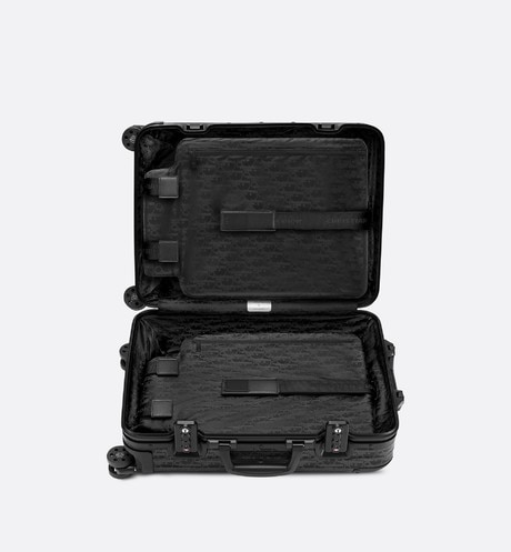 Black DIOR and RIMOWA Cabin Suitcase in Dior Oblique Aluminum aria_topShotView