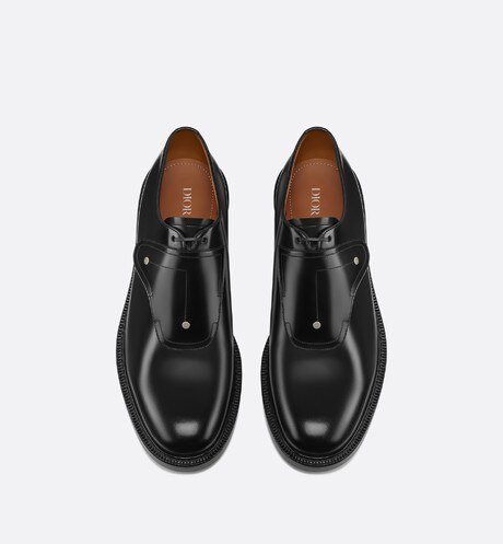 Saddle Monk Derby Shoe in Black Calfskin top shot view