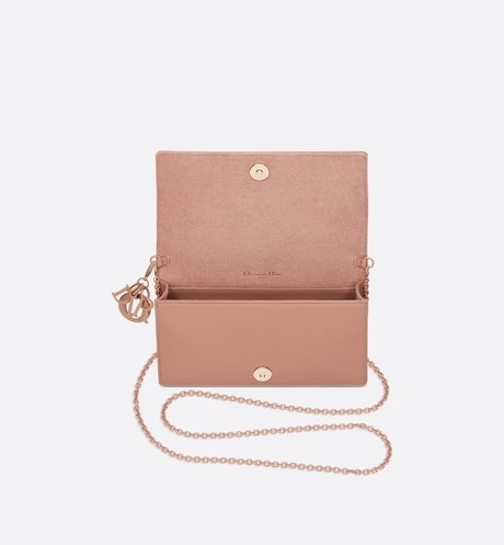 Blush Lady Dior Calfskin Chain Pouch top shot view