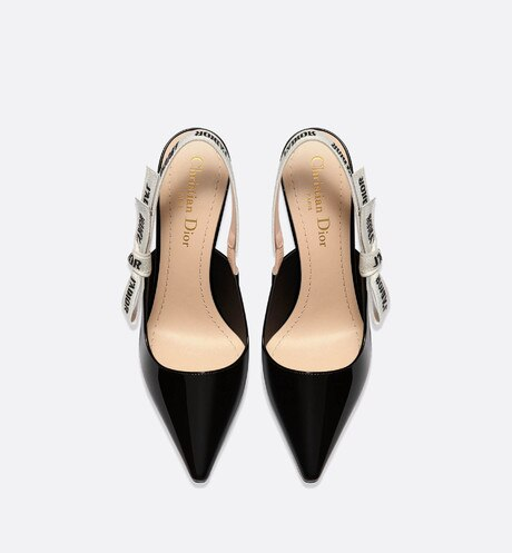 J'Adior slingback in black patent calfskin leather top shot view