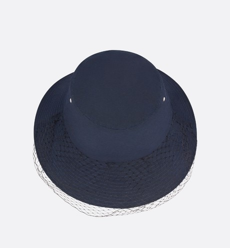 Teddy-D Large Brim Bucket Hat with Veil top shot view Open gallery