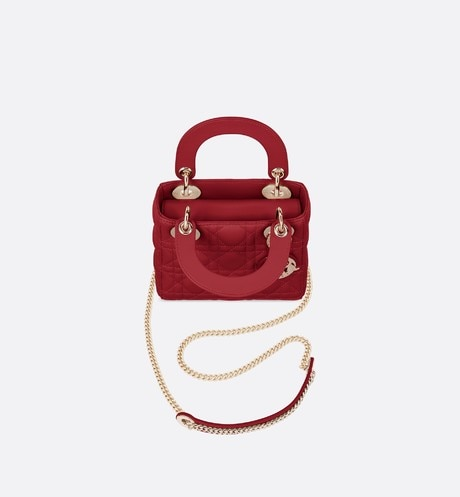 Cherry Red Lady Dior Mini Lambskin Chain Bag aria_topShotView