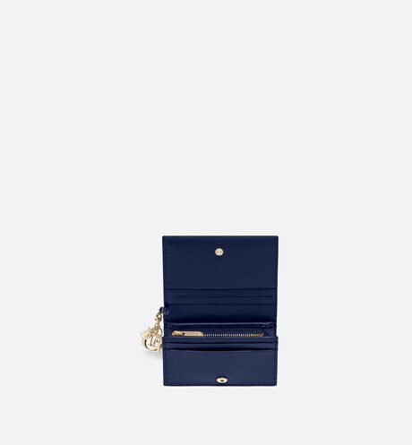 Lady Dior wallet in blue calfskin aria_topShotView