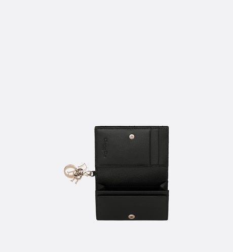 Lady Dior lambskin card holder top shot view