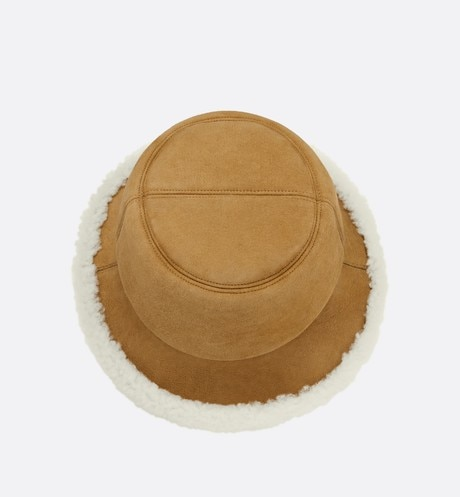 Dior Shearling Small Brim Bucket Hat Top shot view Open gallery