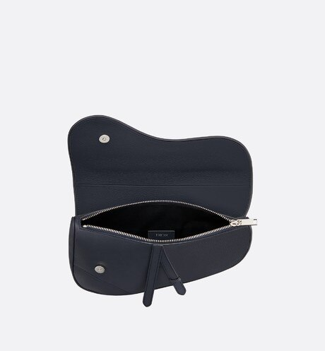 Saddle bag in navy blue calfskin aria_topShotView