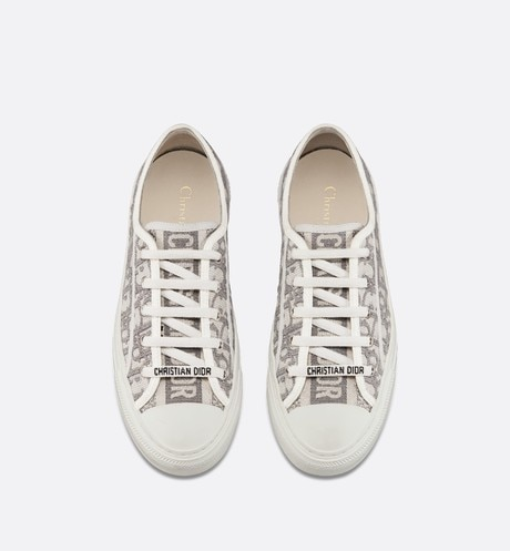 Gray Walk'n'Dior Dior Oblique Embroidered Cotton Sneaker top shot view
