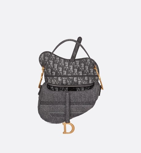 Gray Saddle Denim Bag with Dior Oblique Embroidery top shot view