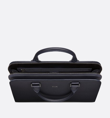 Navy Blue Grained Calfskin Briefcase aria_topShotView